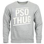 /achat-sweats-col-rond-crewneck/pso-thug-sweat-crewneck-logo-classique-gris-chine-blanc-65097.html