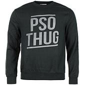 /achat-sweats-col-rond-crewneck/pso-thug-sweat-crewneck-logo-classique-noir-gris-66870.html