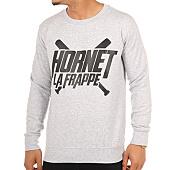 /achat-sweats-col-rond-crewneck/hornet-la-frappe-sweat-crewneck-logo-gris-chine-clair-103285.html