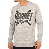 /achat-sweats-col-rond-crewneck/hornet-la-frappe-sweat-crewneck-logo-gris-chine-103286.html