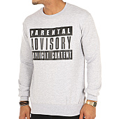 /achat-sweats-col-rond-crewneck/parental-advisory-sweat-crewneck-classic-logo-gris-chine-105469.html