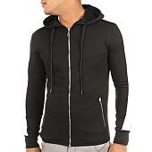 /achat-sweats-zippes-capuche/john-h-sweat-zippe-capuche-avec-bande-ab016-noir-blanc-118699.html