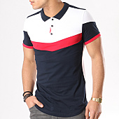 /achat-polos-manches-courtes/lbo-polo-manches-courtes-tricolore-retro-376-blanc-bleu-marine-rouge-125497.html