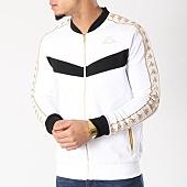 /achat-vestes/kappa-veste-zippee-avec-bandes-ardes-blanc-noir-dore-130030.html