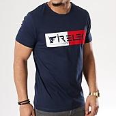 /achat-t-shirts/firelek-tee-shirt-logo-bicolore-feutrine-bleu-marine-rouge-blanc-130088.html