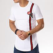 /achat-t-shirts-longs-oversize/john-h-tee-shirt-oversize-avec-bande-1801-blanc-floral-130143.html
