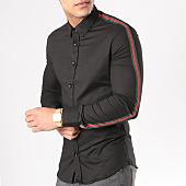 /achat-chemises-manches-longues/ikao-chemise-manches-longues-avec-bandes-f116-noir-130480.html