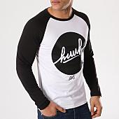 /achat-t-shirts-manches-longues/kpoint-tee-shirt-manches-longues-raglan-huuh-logo-blanc-noir-131561.html