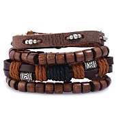 /achat-bracelets/california-jewels-lot-de-4-bracelets-ethnic-noir-marron-131651.html