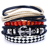 /achat-bracelets/california-jewels-lot-de-5-bracelets-anchor-noir-rouge-beige-131655.html