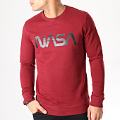 /achat-sweats-col-rond-crewneck/nasa-sweat-crewneck-worm-logo-bordeaux-132338.html