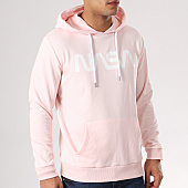 /achat-sweats-capuche/nasa-sweat-capuche-worm-logo-rose-blanc-132372.html
