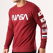 /achat-sweats-col-rond-crewneck/nasa-sweat-crewneck-flags-bordeaux-134615.html
