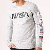 /achat-sweats-col-rond-crewneck/nasa-sweat-crewneck-flags-gris-chine-134616.html