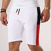 /achat-shorts-jogging/lbo-short-jogging-poly-432-blanc-bandes-bleu-marine-et-rouge-134764.html