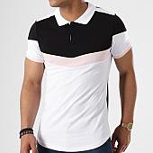 /achat-polos-manches-courtes/lbo-polo-manches-courtes-tricolore-retro-425-blanc-noir-rose-136674.html