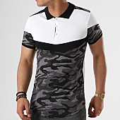 /achat-polos-manches-courtes/lbo-polo-manches-courtes-tricolore-retro-426-camouflage-noir-blanc-136675.html
