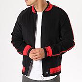 /achat-vestes/sixth-june-veste-zippee-velours-bandes-brodees-noir-rouge-137638.html