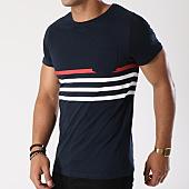 /achat-t-shirts-poche/lbo-tee-shirt-poche-avec-rayures-445-bleu-marine-blanc-rouge-139573.html