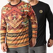 /achat-t-shirts-manches-longues/y-et-w-tee-shirt-manches-longues-reversible-barok-noir-orange-dore-139905.html