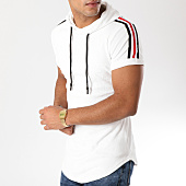 /achat-t-shirts-longs-oversize/john-h-tee-shirt-oversize-capuche-velours-bandes-brodees-557-blanc-140370.html