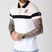/achat-polos-manches-courtes/final-club-polo-tricolore-avec-broderie-064-blanc-noir-rose-140589.html