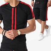 /achat-ensembles-survetement/john-h-ensemble-tee-shirt-oversize-short-jogging-bandes-brodees-619-noir-rouge-140925.html