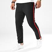 /achat-pantalons-carreaux/frilivin-pantalon-bandes-brodees-1321-noir-rouge-141360.html