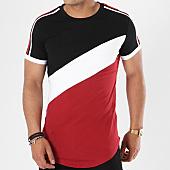 /achat-t-shirts-longs-oversize/john-h-tee-shirt-oversize-avec-bandes-1896-bordeaux-blanc-noir-141338.html