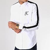 /achat-chemises-manches-longues/final-club-chemise-avec-bandes-et-broderie-058-blanc-noir-141695.html