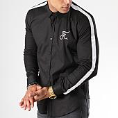 /achat-chemises-manches-longues/final-club-chemise-avec-bandes-et-broderie-059-noir-blanc-141696.html