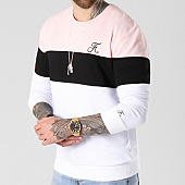 /achat-sweats-col-rond-crewneck/final-club-sweat-crewneck-tricolore-avec-broderie-061-blanc-noir-rose-141839.html