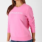 /achat-sweats-col-rond-crewneck/calvin-klein-sweat-crewneck-femme-institutional-logo-7827-rose-142333.html