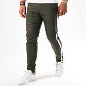 /achat-pantalons-carreaux/classic-series-pantalon-bandes-brodees-stripe-vert-kaki-blanc-142831.html