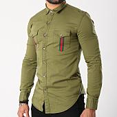 /achat-chemises-manches-longues/gov-denim-chemise-manches-longues-avec-bandes-g18015-vert-kaki-143208.html