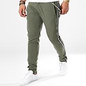 /achat-pantalons-carreaux/ikao-pantalon-bandes-brodees-p18005-vert-kaki-noir-blanc-143311.html