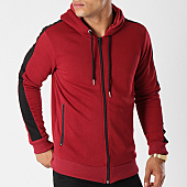 /achat-sweats-zippes-capuche/gov-denim-sweat-zippe-capuche-avec-bandes-g18016-bordeaux-144010.html
