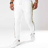 /achat-pantalons-joggings/gov-denim-pantalon-jogging-avec-bandes-g18017-blanc-144021.html