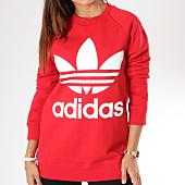 /achat-sweats-col-rond-crewneck/adidas-sweat-oversize-femme-trefoil-dh3140-rouge-blanc-144296.html