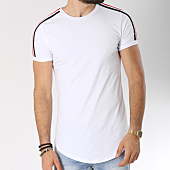 /achat-t-shirts-longs-oversize/john-h-tee-shirt-oversize-bandes-brodees-1803-blanc-noir-rouge-144690.html