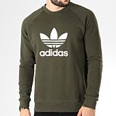 /achat-sweats-col-rond-crewneck/adidas-sweat-crewneck-trefoil-dm7834-vert-kaki-blanc-145204.html