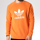 /achat-sweats-col-rond-crewneck/adidas-sweat-crewneck-trefoil-dh5832-orange-blanc-145263.html