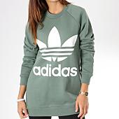 /achat-sweats-col-rond-crewneck/adidas-sweat-crewneck-oversize-femme-trefoil-dh3128-vert-kaki-145334.html