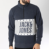/achat-sweats-col-zippe/jack-and-jones-sweat-passion-bleu-marine-chine-gris-chine-145484.html