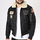 /achat-bombers/schott-nyc-bomber-patchs-brodes-col-mouton-pilot-1-noir-145812.html
