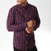 /achat-chemises-manches-longues/jack-and-jones-chemise-manches-longues-gingham-carreaux-bordeaux-bleu-marine-146901.html