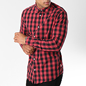 /achat-chemises-manches-longues/jack-and-jones-chemise-manches-longues-gingham-carreaux-noir-rouge-146902.html