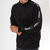 /achat-sweats-col-zippe/napapijri-sweat-bandes-brodee-beja-noir-blanc-147804.html