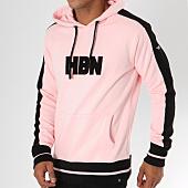 /achat-sweats-capuche/hechbone-sweat-capuche-avec-bandes-rio-rose-noir-148128.html