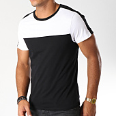 /achat-t-shirts/lbo-tee-shirt-avec-bandes-bicolore-492-noir-blanc-148683.html